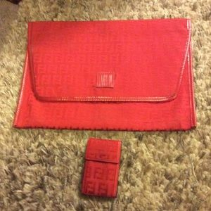 Fendi clutch with wallet vintage
